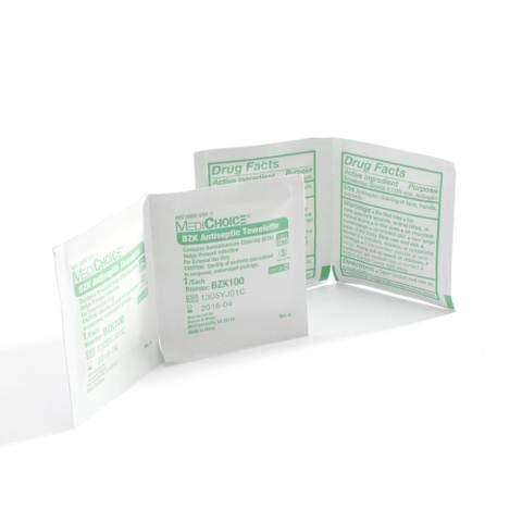 MediChoice BZK Antiseptic Towelettes, Non-Toxic, Sterile, Benzalkonium Chloride, 5x8 Inch, 1314BZK100 (Case of 1000)