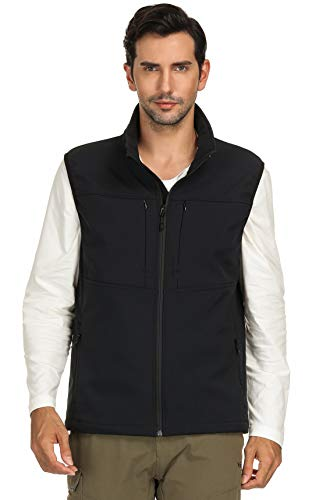 MIER Men's Water Resistant Softshell Vest Lightweight Travel Vest with 9 Pockets, Fleece Lined and Front Zip, Black, Large
