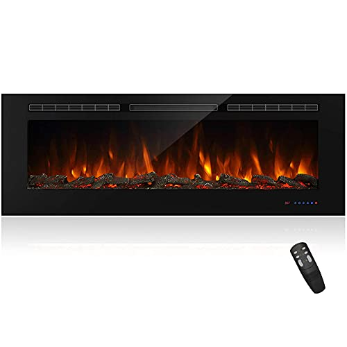 Masarflame 60' Recessed Electric Fireplace Insert, 5 Flame Settings, Log Set or Crystal Options, Temperature Control by Touch Panel & Remote, 750/ 1500W Heater