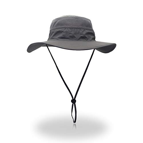 EONPOW Windproof Fishing Hats UPF50+ UV Protection Sun Hat Outdoor Bucket Mesh Hat 56-61cm Grey