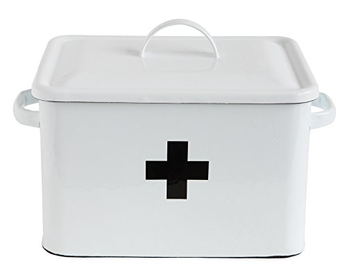 Creative Co-Op Enameled First Aid Lid & Black Front Box, White, Black Cross