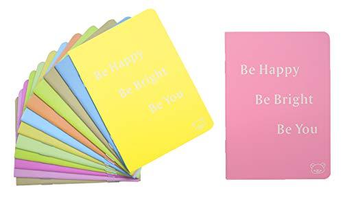 Yansanido 12pcs Pocket Notebooks Set (3.5'x5') Be Happy, Be Bright, Be You 8 Colors Pocket Mini Journals NoteBooks Mini Notepads