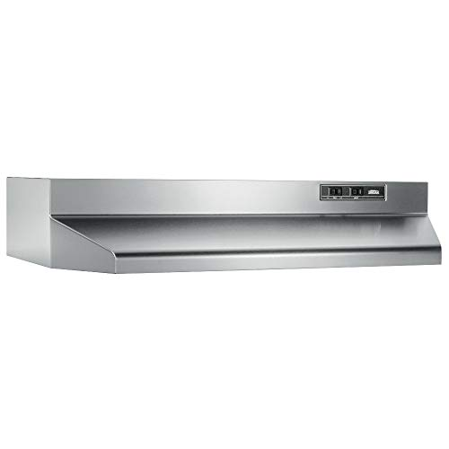 Broan-NuTone 403004 Convertible Range Hood Insert with Light, Exhaust Fan for Under Cabinet, 30', Stainless Steel, 6.5 Sones, 160 CFM