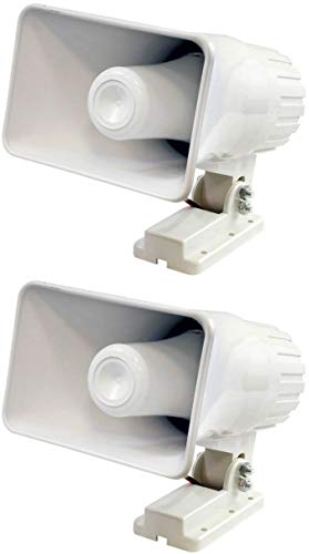 Pyle PHSP4 6' 50W Indoor/Outdoor Waterproof Home PA Horn Speaker, White, 2 Pack with Mounting Bracket and Hardware