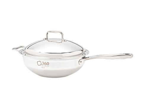 360 Stainless Steel Wok with Lid, Handcrafted in the USA, Induction Cookware, Waterless Cookware, Dishwasher Safe, Oven Safe, Surgical Grade Stainless Steel Cookware. (5 Quart Stock Pot)