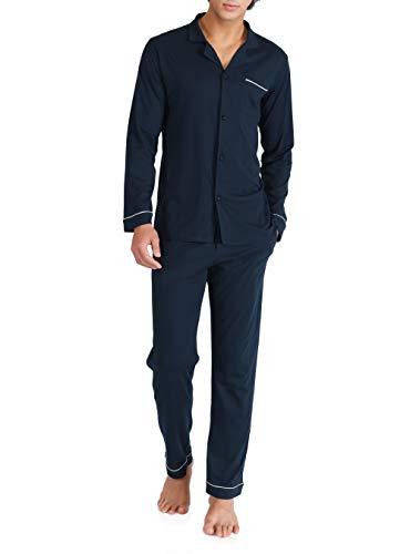 DAVID ARCHY Men's 100% Cotton Long Button-Down Sleepwear Pajama Set (M, Navy Blue)