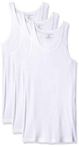 Tommy Hilfiger Men's Undershirts 3 Pack Cotton Classics A Shirt, White, Medium