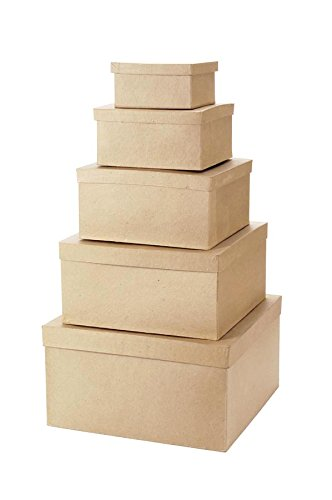 """Darice Paper Mache, Set of 5 – Neutral Colored Square Lids, Ideal for Crafting & Storage, Includes 6"""", 8"""", 10"""", 12"""" and 14"""" Boxes, 5 Set, 5 Count"""