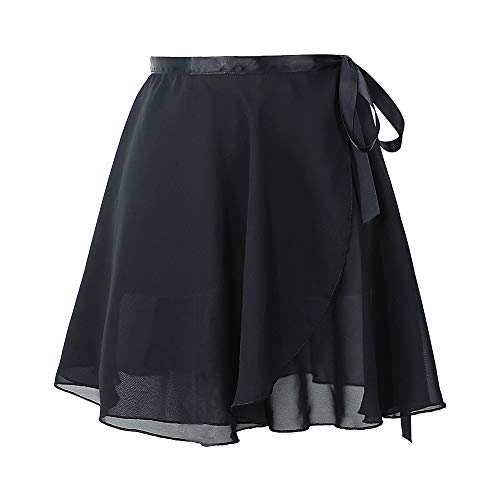 Ballet Skirt Chiffon Wrap Dance Skirt for Women/Girls, Ballet Pull-On Skirt Black XL