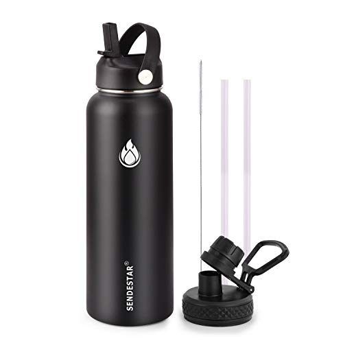 SENDESTAR Stainless Steel Water Bottle - Double Wall Vacuum Insulated Leak Proof, Keeps Liquids Hot or Cold, 2 or 3 Lids, Wide Mouth with Straw Lid, Spout Lid 32 oz, 40 oz (32oz- 2lids, Black)