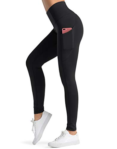 Dragon Fit High Waist Yoga Leggings with 3 Pockets,Tummy Control Workout Running 4 Way Stretch Yoga Pants Black