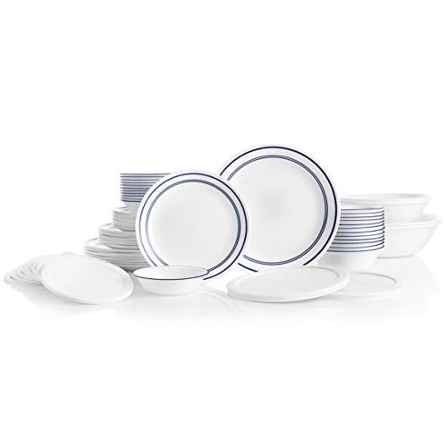 Corelle Service for 12, Chip Resistant, Classic Café Blue Dinnerware Set, 78 Piece