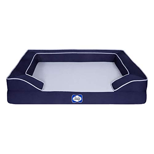 Sealy Lux Pet Dog Bed   Quad Layer Technology with Memory Foam, Orthopedic Foam, and Cooling Energy Gel. Machine Washable Cover. Medium, Navy