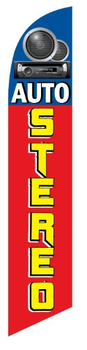 Auto Stereo Shop Advertising Feather Banner Swooper Flag Sign with Flag Pole Kit and Ground Stake