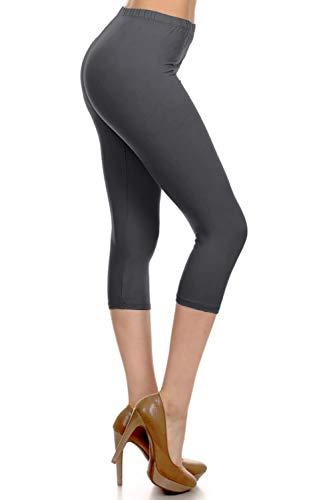 NCPRX128-CHARCOAL Capri Solid Leggings, Plus Size
