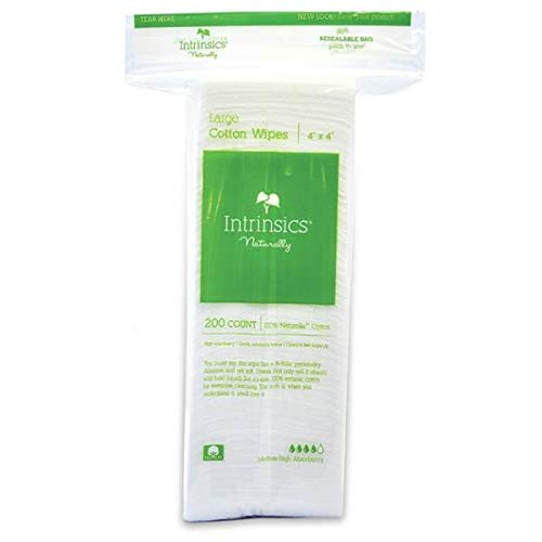 Intrinsics Large Cotton Wipes - 4' x 4', 8-ply 100% Cotton, 200 Count