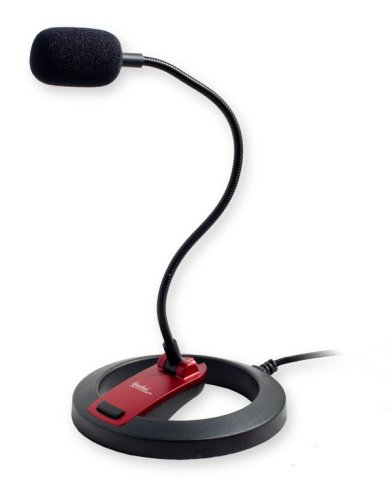PC Goose Neck Microphone, Computer Microphone With Mute Switch and Stand, Plug And Play 3.5mm Microphone For Desktop/Laptop/iPad/Tablet