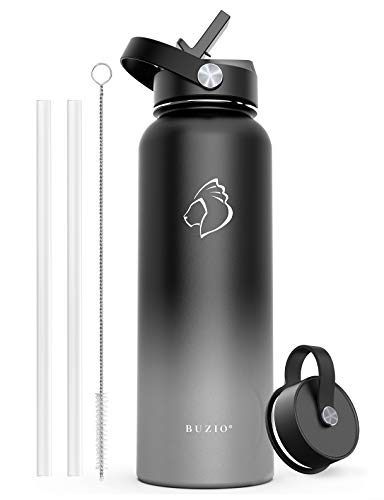 BUZIO Insulted Water Bottle with Straw Lid and Flex Cap, 40oz Modern Double Vacuum Stainless Steel Water Flask, Cold for 48 Hrs Hot for 24 Hrs Simple Thermo Canteen Mug,Batman