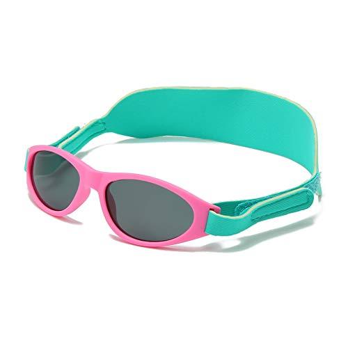 LongKeeper Kids Polarized Sunglasses with Headband Boys Girls Infant TR90 Sport Glasses Age (Pink Green)