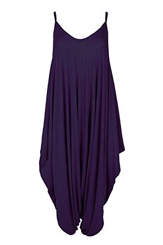 Oops Outlet Women's Thin Strap Lagenlook Romper Baggy Harem Jumpsuit Playsuit Plus Size (US 16/18) Purple