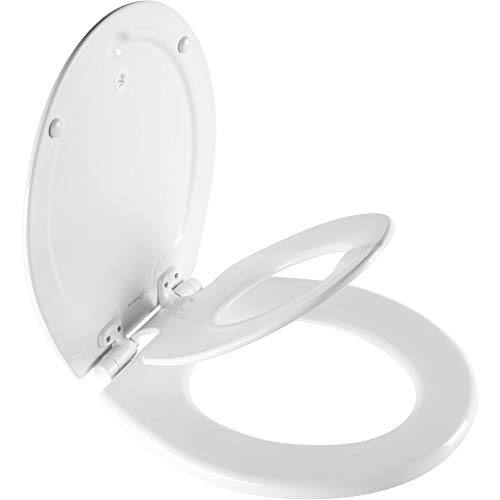 MAYFAIR 888SLOW 000 NextStep2 Toilet Seat with Built-In Potty Training Seat, Slow-Close, Removable that will Never Loosen, ROUND, White