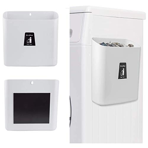 KaryHome Laundry Lint Bin,Waste Bin with Magnetic Strip for Dryer Washer,Laundry Decor for Laundry Room