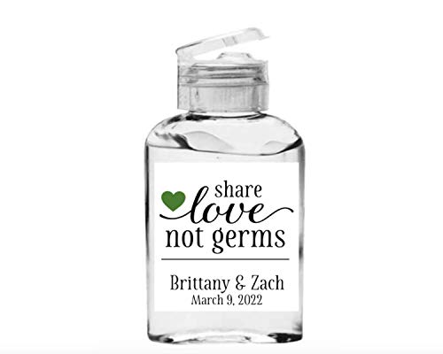 Wedding Favor LABELS - 20 Personalized Mini Hand Sanitizer STICKERS, Share Love Not Germs