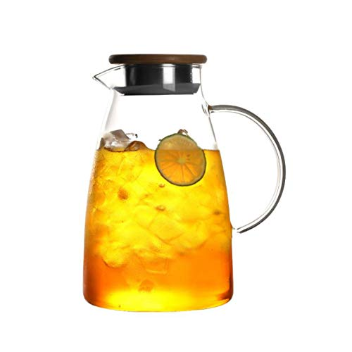 0.5 Gallon/68 oz Glass Carafes Pitcher with Lid BPA-FREE Mix Drinks Water Jug for Hot/Cold Lemonade Juice Beverage Jar Ice Tea Kettle (68oz Bamboo Lid)