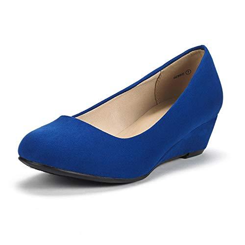 DREAM PAIRS Women's Debbie Royal Blue Mid Wedge Heel Pump Shoes - 7.5 M US