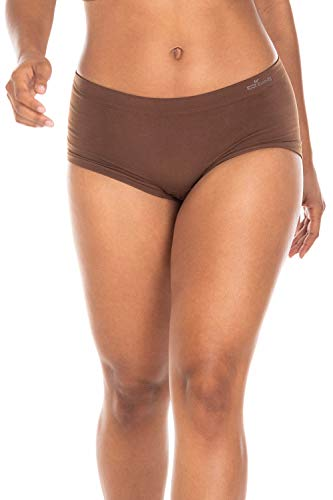 Boody Body EcoWear Women's Boyleg Briefs Seamless Boyshort Underwear Made from Natural Organic Bamboo Viscose – Soft Breathable Eco Fashion for Sensitive Skin - Nude 6, Large, Two Pack