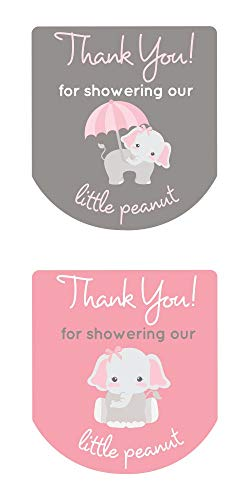90 Hand Sanitizer Labels Thank You Stickers Baby Shower Favors Gray Elephant (Pink)