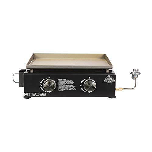 PIT BOSS PB336GS 2 Burner Table Top Gas Cast Iron Griddle-Cover Included, Black