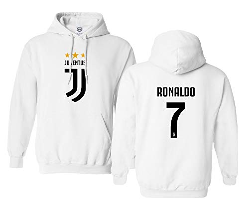 Smart Zone CR7 Soccer New Hoodie Cristiano Ronaldo Men's Sweatshirt (White, Youth - X-Large)