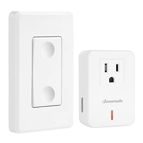 DEWENWILS Remote Control Outlet Wireless Wall Mounted Light Switch, Electrical Plug in On Off Power Switch for Lamp, No Wiring,100 Feet RF Range, ETL Listed,Programmable