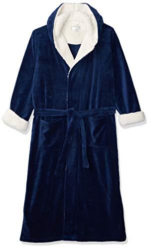 Alexander Del Rossa Men's Warm Fleece Robe with Hood, Plush Big and Tall Bathrobe, 3X-4X Navy Blue with Sherpa (A0262NBL4X)