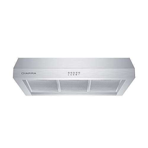 CIARRA CAS75908A Under Cabinet Range Hood with 450 CFM, 30 inch Vent Hood with 3 Speed Exhaust Fan, Kitchen Stove Hood with mesh filters, Ducted/Ductless Convertible, Push Button
