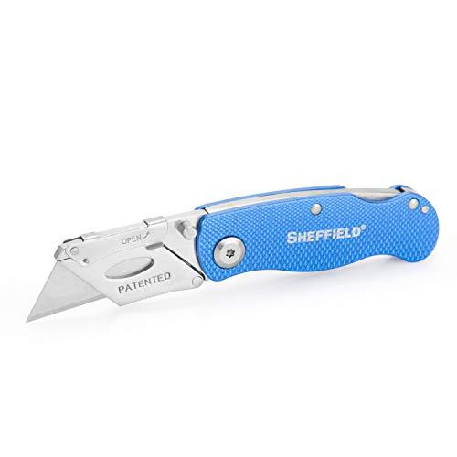 Sheffield 12113 Ultimate Lock Back Utility Knife, Folding, Box Cutter Knife, Carpet Knife, Drywall Cutter, and More, Quick-Change Blade, Back Lock Design, Blue