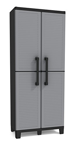KETER Storage Cabinet with Doors and Shelves-Perfect for Garage and Basement Organization, Grey