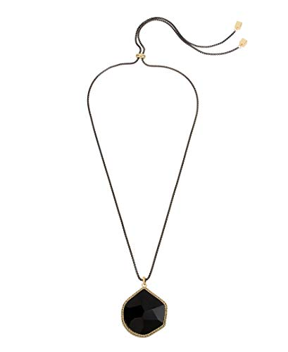 Kenneth Cole Women's Stone Pendant Adjustable Slider Necklace, Jet, One Size