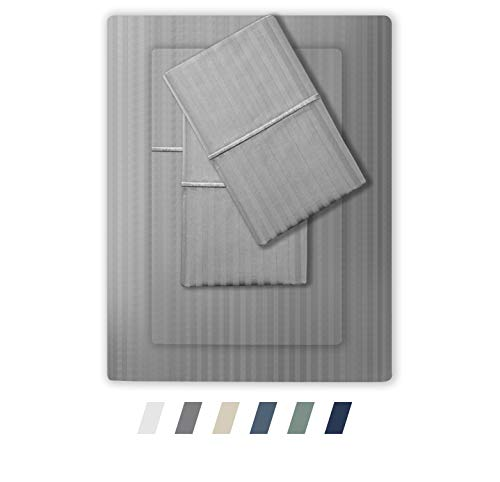 Feather & Stitch 500 Thread Count 100% Cotton Stripe Sheets + 2 Pillowcases, Soft Sateen Weave, Deep Pocket, Hotel Collection, Luxury Bedding Set (Grey, Queen)