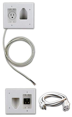 DATA COMM Electronics 50-3323-WH-KIT Flat Panel TV Cable Organizer Kit with Power Solution - White