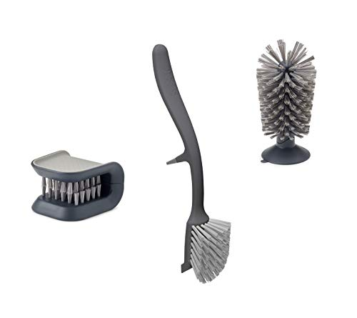 Joseph Joseph Kitchen Set Knife and Cutlery Cleaner Dish Glass Brush, 3-piece, Gray