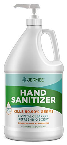 Jermee Moisturizing Hand Sanitizer Gel, 70% Alcohol - Kills 99.99% Germs, Enhanced with Vitamin E and Aloe Vera - Crystal Clear Gel, Refreshing Scent, Made in USA - 1 Gallon with Easy to Use Pump