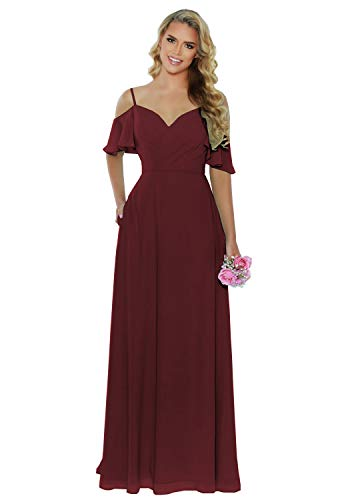 Wusan A-line Bridesmaid Dress Burgundy Long Cold Shoulder Pleated Chiffon Evening Party Dress with Pockets Size 8