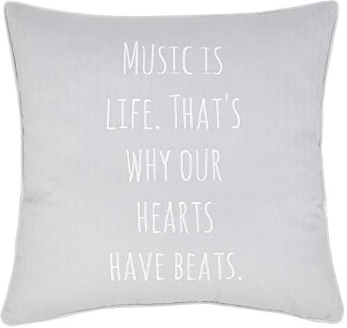 EURASIA DECOR DecorHouzz Music Lover Embroidered Pillow Cover Gift for Music Teacher,Guitar Player,Piano Player,Graduation,Teen,Wedding, 18'X18', Music is Life(Smoke)