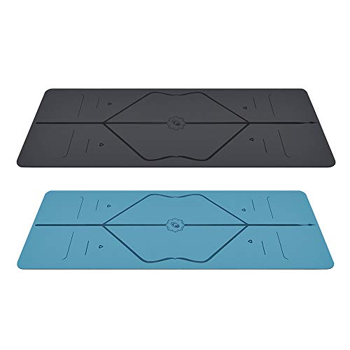 Liforme Yoga & Travel Mat Bundle Pack – Patented Alignment System, Eco-Friendly, Non-Slip Warrior-Grip, Biodegradable, Made with Natural Rubber, Thick, Sweat Resistant, Comfortable - Gray/Blue