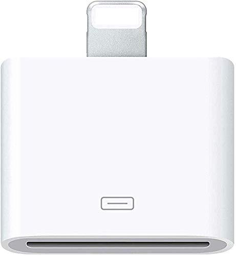 Adaptter 30-pin to 8-pin Charging Sync Adapter Converter for 5 5C 5S SE 6 6S 6 Plus 6S Plus 7 7 Plus 8 Plus X XR XS XS Max, No Audio (White)