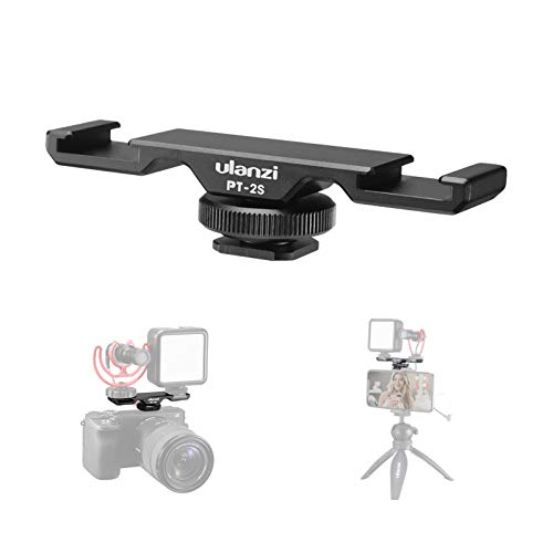 Cold Shoe Bracket Extension Bar 2 Hot Shoe Mounts for LED Video Light Microphone Stand, Camera Video Filmmaking Smarphone Vlog Accessory for iPhone Nikon Canon Sony DSLR Camera