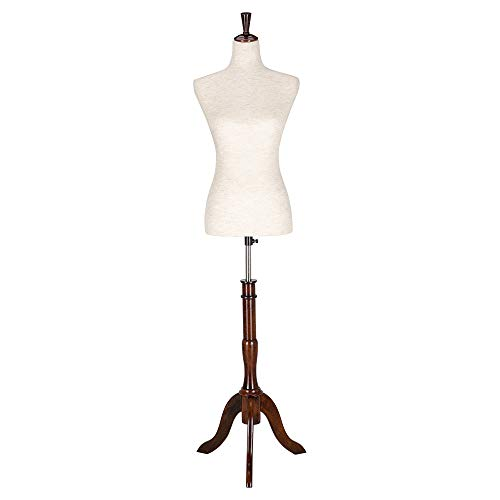 Bonnlo Upgraded Female Dress Form, Mannequin Torse Body with Adjustable Rubber Wood Stand for Dress Jewelry Display (6-8)