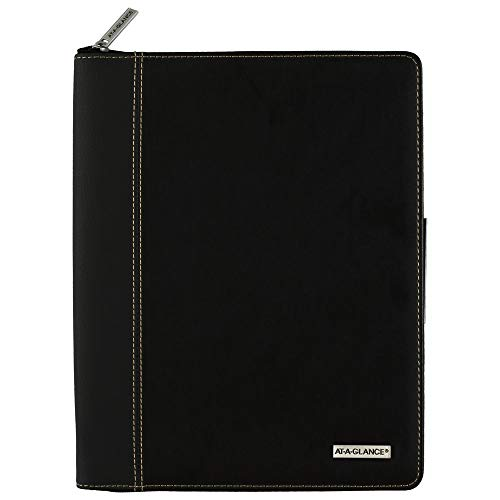 2021 Weekly & Monthly Appointment Book by AT-A-GLANCE, 8-1/4' x 11', Large, with Zipper, Executive, Black (70NX810521)